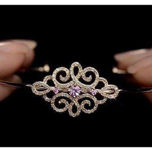 Diamond Women Bangle Pink Sapphire 5 Carats Yellow